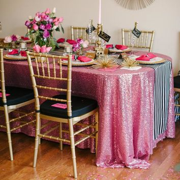 Mauve Sequin Tablecloth | Pink Sequin Table Linen | Pink Soiree  Kate Spade Inspiration