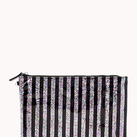 Glittered Stripe Cosmetic Pouch Set
