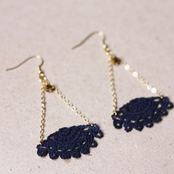 Triangle earrings lace earrings blue earrings - crochet jewelry minimalist jewelry