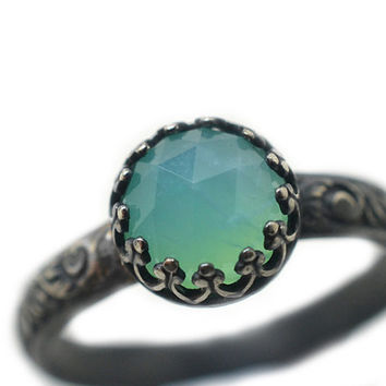 Peruvian Blue Opal Ring, Opal Engagement Ring, Oxidized Silver Ring, Renaissance Ring, Natural Gemstone, Opal Jewelry