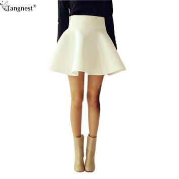TANGNEST Autumn Plus Size Skirt Women 2016 Solid Vintage Thick Tutu Skirts High Waist Flared Puff Mini Skater Ball Skirt WQB314