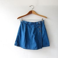 Vintage Culottes Skirt. Mini Jean Skirt. Denim Skirt. Shorts Skirt.