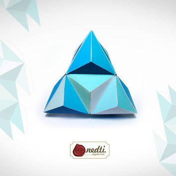 Printable Triangle Pyramid Box Template, DIY - Brown, Blue, Green, Pink, Red, Magenta, Yellow, Orange, Purple - Instant Download