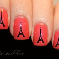 NAILICIOUS TEN French Icon Eiffel Tower Nail Wrap Art Water Transfer Decal 21pcs - ST8034