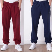 Spring and autumn large size cotton loose sport pants basketball training pants closed feet men or student running fitness pants