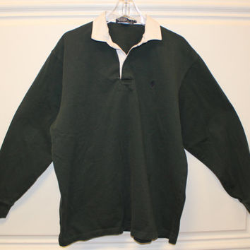 Vintage // Polo by Ralph Lauren // Rugby Shirt // Hunter Green // Large