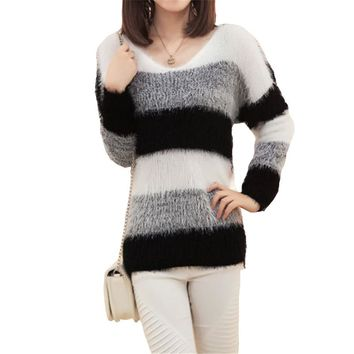 Women's Fashion Striped Pullover Crochet Sweater Casual Tops Knitted Jumper For Handsome Maternity Sweaters SW082