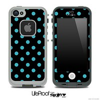 Polka Dotted Blue and Black V3 Skin for the iPhone 5 or 4/4s LifeProof Case