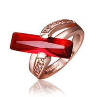 18K Rose Gold Plated Red Cuboid Swarovski Elements Crystal Ring, Size 8