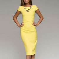 Short Sleeve Bodycon Mid Dress