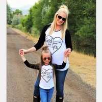 God Gave Me You Raglan Mommy and Me Mother Daughter Matching Shirts
