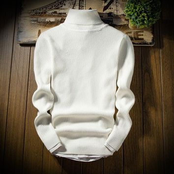 BKTrend Mens Sweaters 2017 New Style Autumn Winter Cashmere Sweater Turtleneck Slim Fit Knitting Men's Pullover Sweaters MY8028