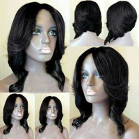 Short Middle Part Wavy Layered Feathered Bob Synthetic Wig - Flax Fwresh Beauty