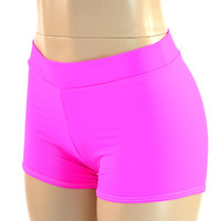 Mid Rise Neon Pink Spandex Shorts