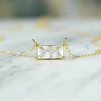 Emerald Cut CZ Necklace