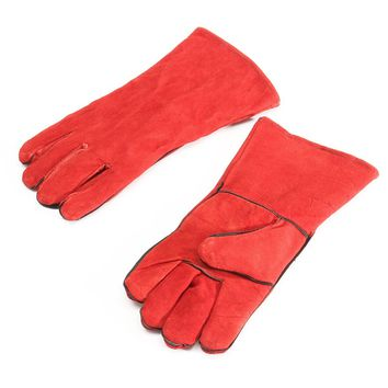 NEW XL Leather Welder Gauntlet Log Fire High Temperature Protection Long Glove Stove Safety Gloves
