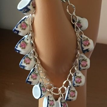 Sweet Simplicity Blue and Pink Rose Tea Cup Charm Bracelet