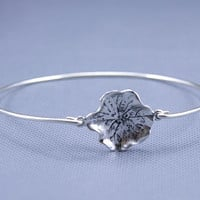 LOTUS Leaf  Silver Bracelet ,constellation Charm Bangle,Silver Jewelry ,Custom Gift for Women (2pcs)