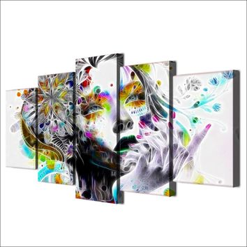 Fast US Ship - 5 piece canvas art wall art - Urban princess  modern psychedelic