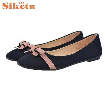 Women Flat Shoes Top Quality Spring Bowknot New Hot Single Leisure Sweet Darling Stu
