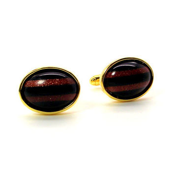 Stripes Black Onyx and Goldstone Cufflinks, Black and Rust Cufflinks, Black and Gold Cufflinks