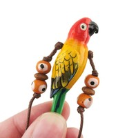 Handmade Sun Conure Bird Shaped Hand Painted Whistle Pendant Necklace | DOTOLY