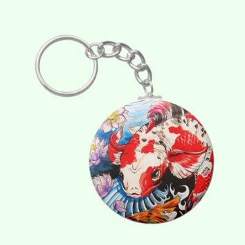 Cool oriental japanese Koi Fish lotus water tattoo Key Chains from Zazzle.com