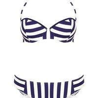 Navy Chevron Stripe Bikini - Topshop USA