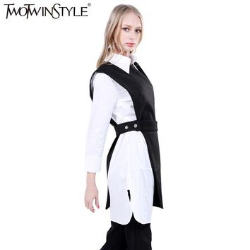 TWOTWINSTYLE 2017 Women Sleeveless Long Vest Coat Waist Bandage Asymmetrical Female Tank Clothes Korean Fashion Casual