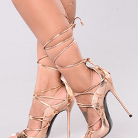 Hello Again Lace Up Heels - Rose Gold