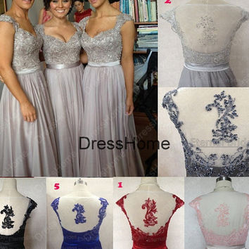 Open Back Long Lace bridesmaid Dress - lace prom Dress / Long Prom Dresses / cheap Prom Dresses / Lace Evening Dresses