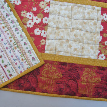 Contemporary Quilted Table Runner - Elegant Asian Floral