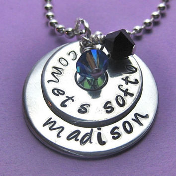 Softball Necklace Deluxe Hand Stamped by thirtyoneshekels on Etsy
