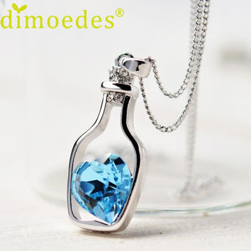 2016 Hot selling Lovely Design Women Diomedes Necklace Ladies Love Drift Bottles Pendant Necklace Crystal Heart Necklace
