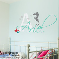 Seahorse with name nursery wall decal, nursery decor, kids wall decal, beach decor, girls room decor, nursery decals, childrens name decal