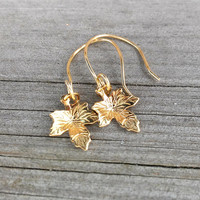 Golden Leaves Earrings - Gold Plated Earrings - Leaf Earrings