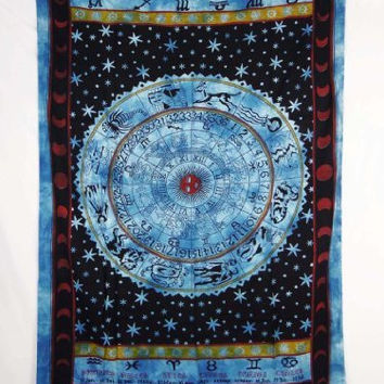Zodiac Printed Tapestry Bedsheet Wall Hanging Throw Ethnic Decorative Gift Art