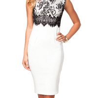 Black and White Sleeveless Lace Dress