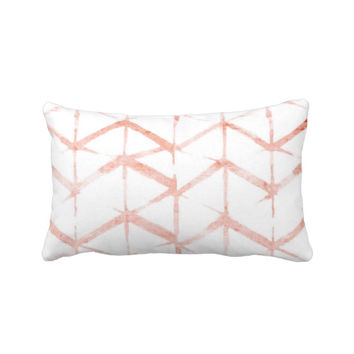 "Shadow Geometric Print Throw Pillow, Pink Sand & White 13 x 21"" Lumbar OUTDOOR or INDOOR Pillows, Watercolor/Hand-Dyed Effect, Blush/Peach"