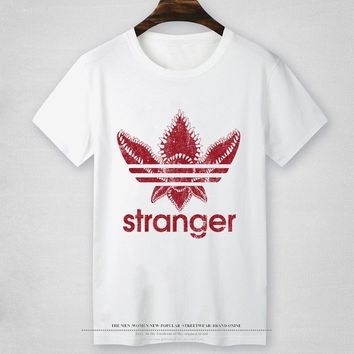 STRANGER THINGS T shirt MEN Chompe monster badge T-Shirt Male Hipster Cool Funny Tops Tee no glue feeling