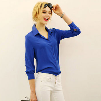 work wear women shirt blouse casual solid elegant ladies chiffon office blouse top new fashion summer formal Blusas Femininas