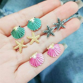 4Pair/Set Starfish Shell Ear Stud Earring Wedding Bohemian Beach Jewelry Gift GF