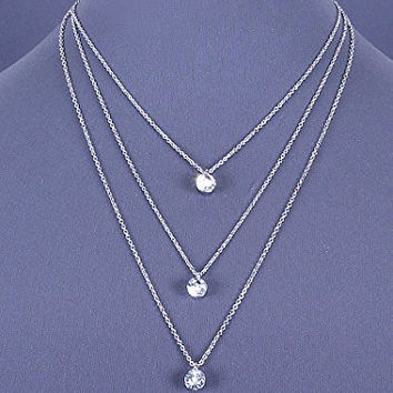 Womens Jewelry, Silver Tone Layered Necklace with Clear Crystal Accents. Length: 21 Inches.