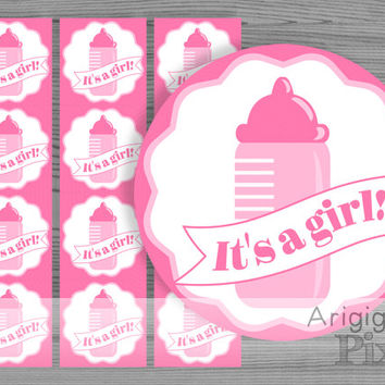 It's a girl printable label, pink, ribbon banner over baby bottle, party circle 2 and halh in, solid pink square background instant download