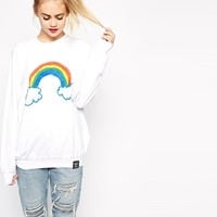 Alice Takes A Trip Oversized Boyfriend Sweatshirt With Rainbow Print