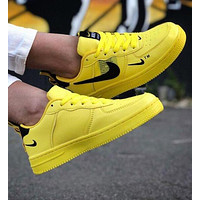 Nike Air Force 1 Fashion Women Men Casual Low-Top Sport Running Shoes Sneakers Yellow