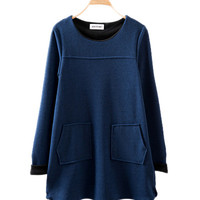 Navy Blue Long Sleeve With Pockets Sweater
