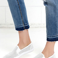 Saturday Morning Cartoons White Slip-On Sneakers