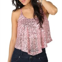 Sequin Flutter Crop Tank with Adjustable Straps