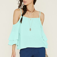 Open-Shoulder Bell Sleeve Top